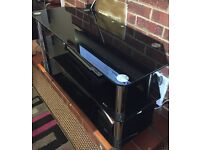 Large glass TVs stand- black stained
