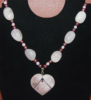 925 STERLING SILVER 16 INCH GENUINE ROSE QUARTZ & PINK PEARL HEART NECKLACE NB Genuine Heart Rose Quartz Necklace