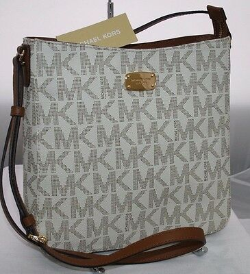 New Michael Kors Travel MK Signature Vanilla PVC Large Crossbody Messenger Bag