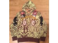 """Brand new authentic Christian Audigier men's luxury """"Tattoo Arms"""" designer hoodie, size Large"""