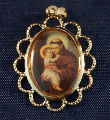 Vintage Religious Plastic Medallion Pendant