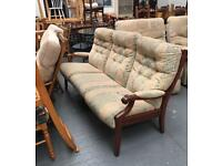 ** WOODEN FRAMED CINTIQUE 3 SEATER SOFA **