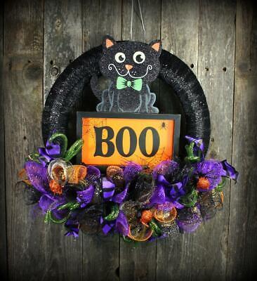 """Halloween Boo Kitty Handmade Door Wall Decoration 14"""" Wreath"""