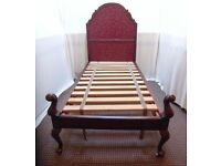 SINGLE ANTIQUE WOODEN BED FRAME AND MATTRESS