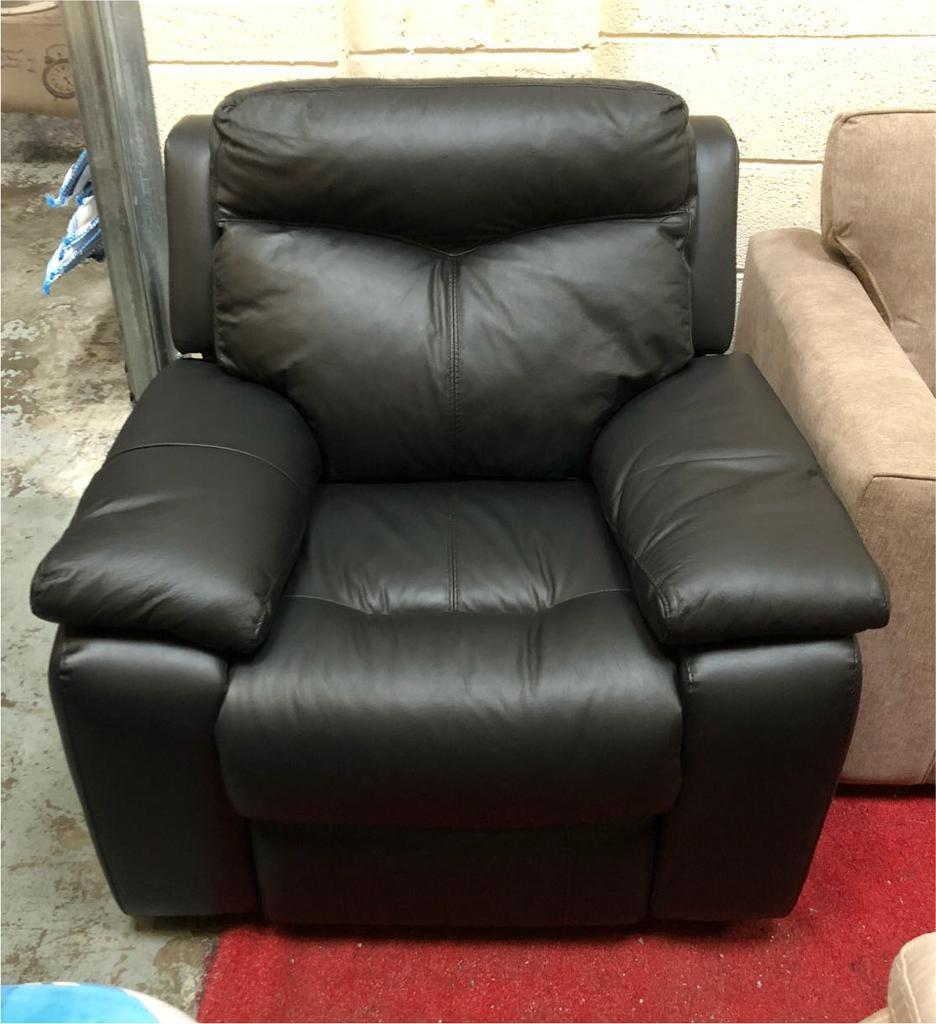 Black DFS leather electric recliner armchair | in ...