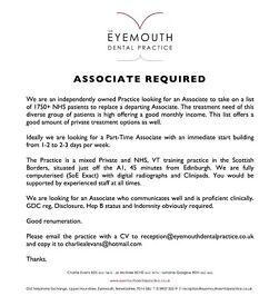 Part-time Associate Dentist Required - immediate start - 45 mins from Edinburgh