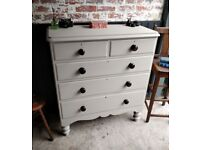 Victorian chest of drawers, painted chest drawers, vintage chest, 6 drawers, bedroom furniture