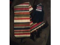 Brand new with tags Multi Coloured scarf with Black gloves, one size fits all