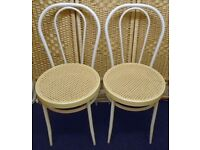 Pair Of White Metal Chairs Kitchen Cafe Bistro Dining Vintage Thonet Bentwood Style