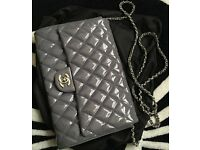 CHANEL Lavender Purple/Gray Quilted Patent Timeless Classic Flap Clutch