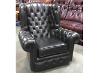 Dark Green leather Chesterfield Wingback chair WE DELIVER UK WIDE
