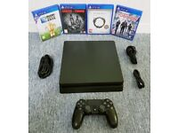 BLACK PS4 SLIM CONSOLE 500 GB - MINT CONDITION WITH 4 GAMES