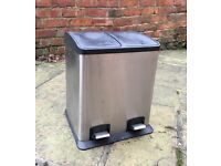 Kitchen Recycling Bin with Two Compartments - Stainless Steel 24L