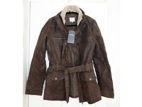 FATFACE FABULOUS REAL LEATHER VINTAGE DISTRESSED WAX LOOK FLYING JACKET RRP £225