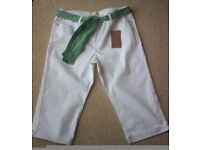 Women's Clothing White Cropped Jeans with Green Spotted Waist Tie Size 16 BNWT