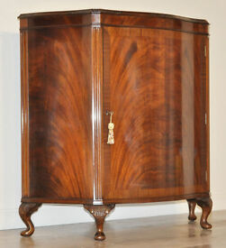 Attractive High Quality Vintage Flame Mahogany Serpentine Front Side Cabinet