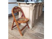 Gorgeous Antique Hand-Painted Bavarian Gypsy Tole Wooden Folding Chair