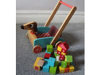 Toddler walker on wheels with wooden blocks! (see photo!)