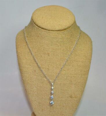 "Judith Ripka Unique Designer Sterling Silver 20"" necklace w gradient CZ pendant"