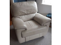 Light grey leather electric power recliner armchair