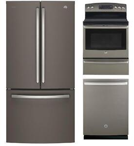 Ensemble lave-vaisselle, réfrigérateur et cuisinière, Fini ardoise, GE & GE Profile