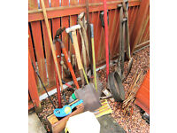Garden tools etc. inc wooden shafted putter