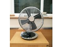 "Prem-I-Air 12"" Inch Cool Air Portable Oscillating Desk Fan - Black / Chrome"