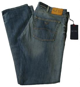 Armani-AJ-Jeans-J45-Regular-Fit-Stone-Wash-Denim-Blue-Zip-Fly-34-leg-V6J45-6K