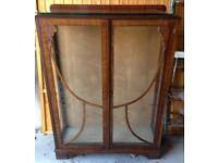 Vintage/antique display cabinet, glass fronted, with three glass shelves, lovely condition
