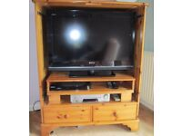 TV Cabinet made from solid pine with two shelves and two drawers