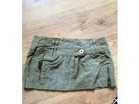 River Island army/grunge style mini skirt. Green, Size 6