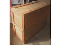 WOODEN SHIPPING/ PACKING CASE, STORAGE/MOVING CHEST FOR PAINTINGS, SCULPTURES, ART