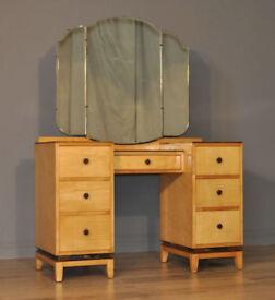 Large Vintage Beithcraft Twin Pedestal Satinwood Triple Mirror Dressing Table