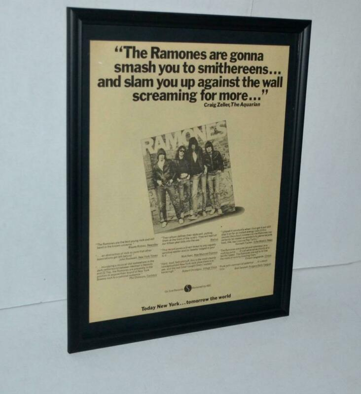 RAMONES 1976 THE RAMONES ARE GOING TO SMASH YOU DEBUT PROMO FRAMED POSTER / AD