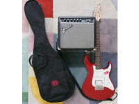 Yamaha Pacifica Full Size Electric Guitar and Fender Frontman 15G Amplifier.
