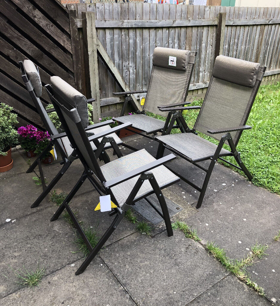 Reclining Garden Dining Chairs With Padded Headrest X4