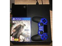 Playstation 4 500GB with all wires, sony ps4 Blue controller and watch dogs
