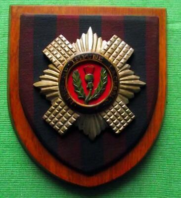 Vintage Nice Scottish Carved Oak CLAN Scots Guards Tartan Plaque Crest Shield