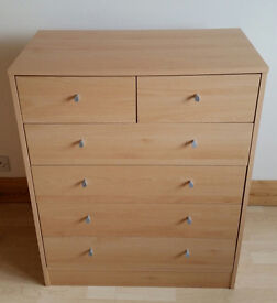 Wooden 8 chest of drawers unit (4 larger and 2 small)