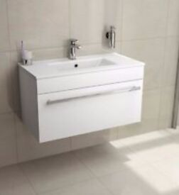White gloss drawer with basin