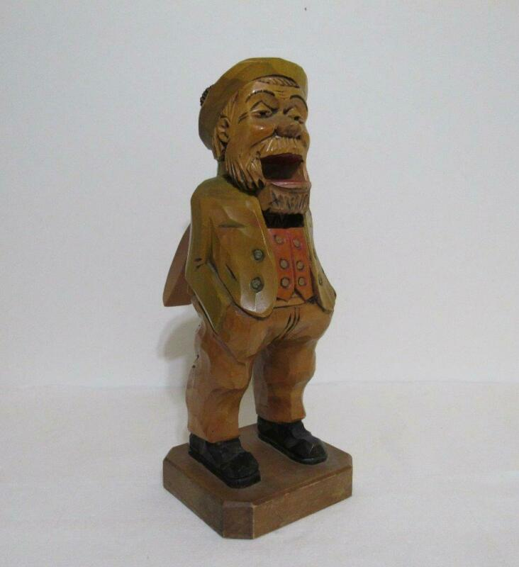 "Antique Black Forest Germany Wood Carved Nutcracker Old German Man 13"" tall"