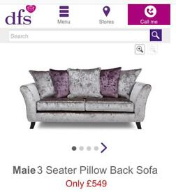 DFS 3 SEATER SOFA SILVER CRUSHED