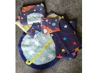 Children's space duvet set/ rug/ curtains and bedside lamps x2