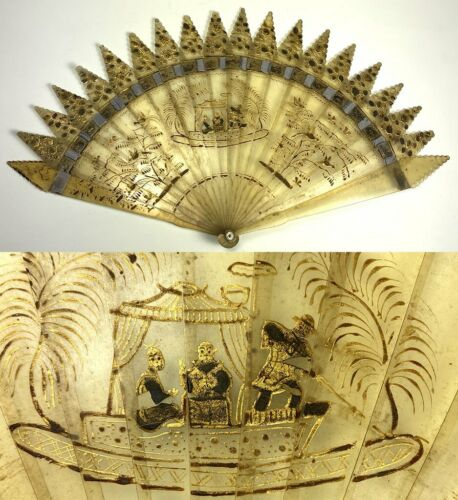 Rare Antique French Empire Hand Fan, c.1810-25, Blackamoors, Boat, Exotic Birds
