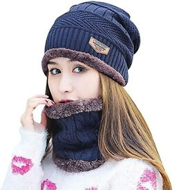 Navy Blue Winter Beanie & Neck Scarf - Age 6 - 14 years old