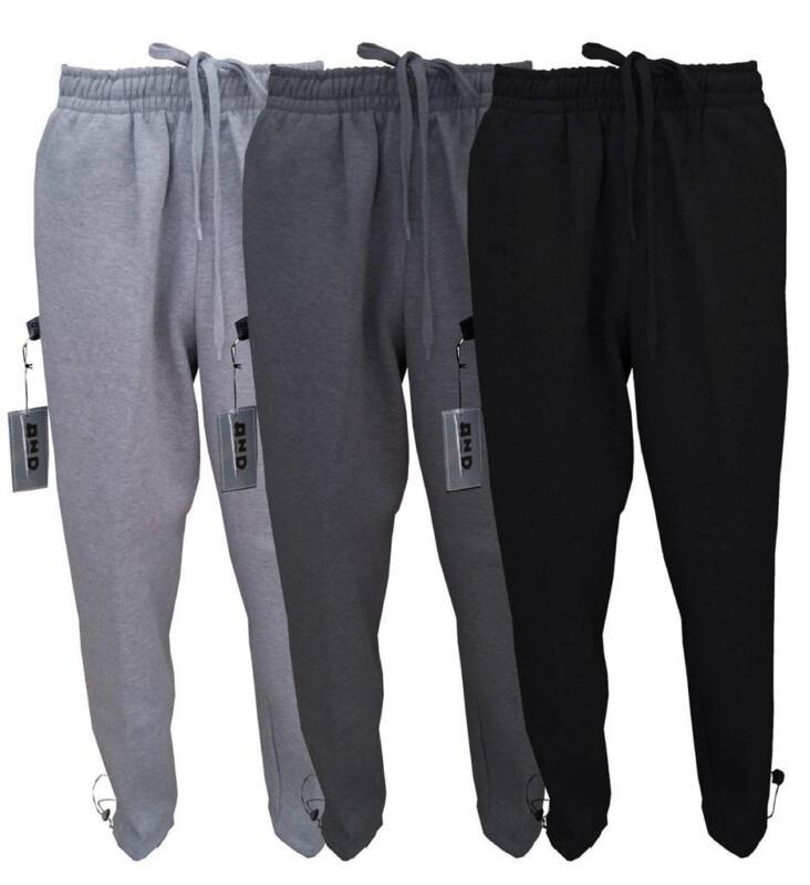 Mens Plain Fleece Jogger Drawstring Heavy Weight Black Charcoal Grey Sweat Pants