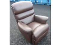 Brown Leather Reclining Chair. Recliner Living room Arm chair