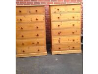 5 ft Tall Solid Rustic Pine Tall Boy Drawers