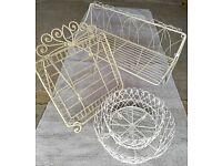 Set of Homeware Ornate Cream Wire-work Kitchen Accessories (3)