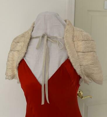 J. Mendel Paris Cream Persian Lamb Short Sleeved SHRUG with Velvet Ties Sz S